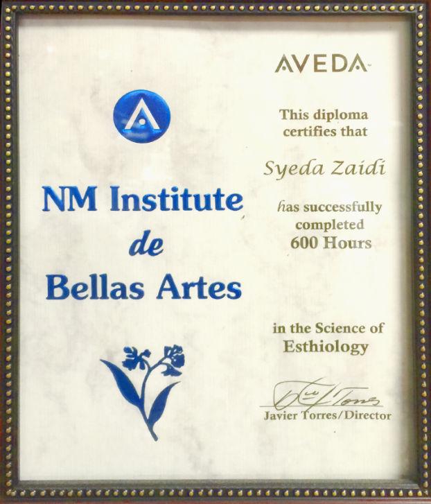 Syeda Zaidi Certificate AVEDA