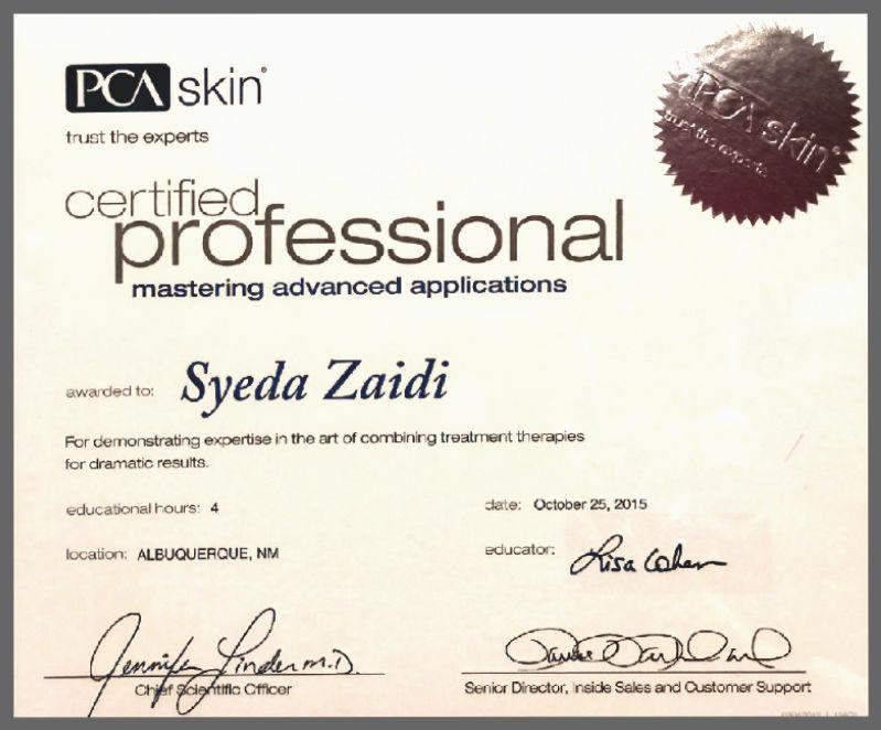 Certified Professional Master: Syeda Zaidi Certificate